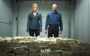 Breaking Bad - Walt and Skylar with a huge pile of money