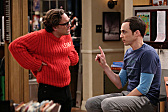 Leonard refuses to take off the itchy red sweater and let Sheldon win