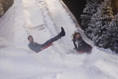 Juan Pablo and Clare Sledding