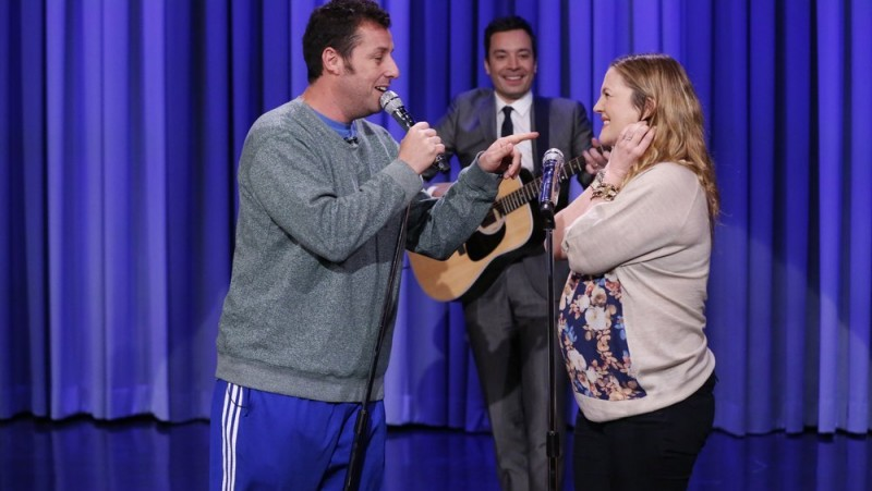 Drew Barrymore and Adam Sandler sing Every Ten Years on Tonight Show