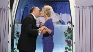 Kevin and Barbara Corcoran Seal their wedding with a kiss